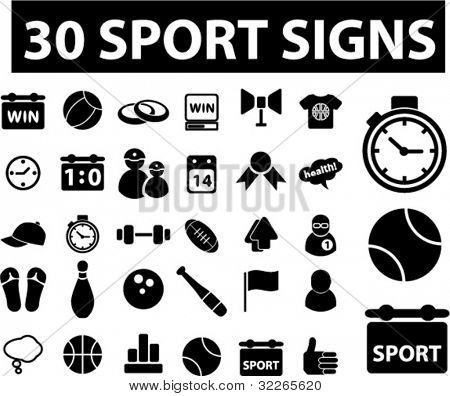 30 sport icons, signs, vector illustrations set