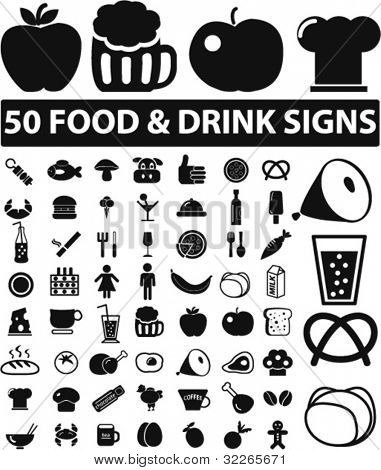 50 food & drink signs, icons set, vector