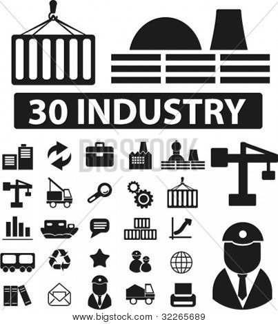 30 Industrie Icons Set, Schilder, Vektor