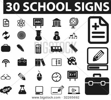 30 school icons set, signs, vector