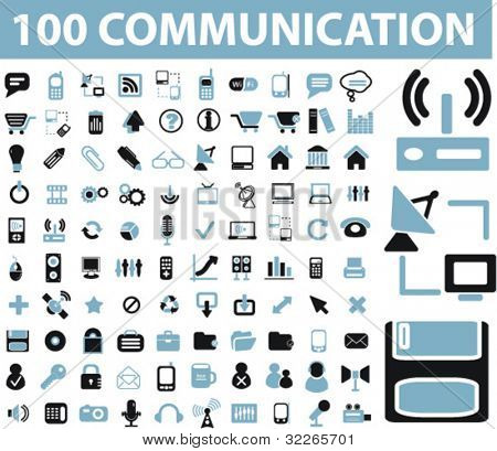 100 Kommunikation Icons Set, Schilder, Vektor