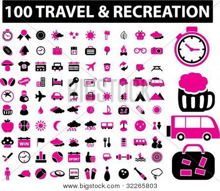 100 travel & recreation icons set, vector illustrations