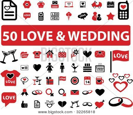 love & wedding icons set, signs, vector illustration
