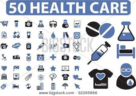 50 Gesundheitswesen Symbole Set, Schilder, Vektor Illustrationen
