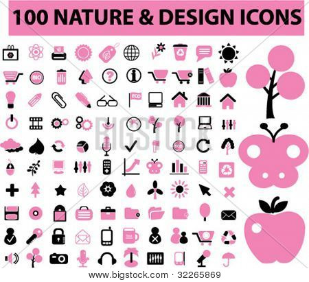 100 nature icons set, signs, vector illustration