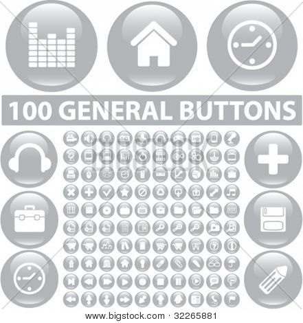 100 general buttons set, icons, signs, vector illustration