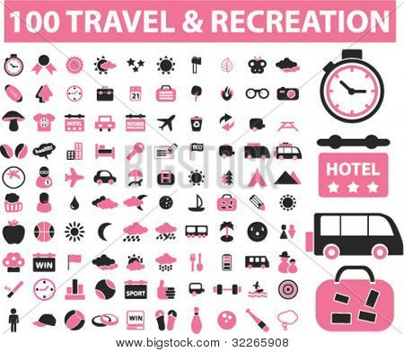 100 travel & recreation icons set, vector illustration