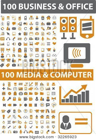 200 business & office & media & computer icons set, vector illustration