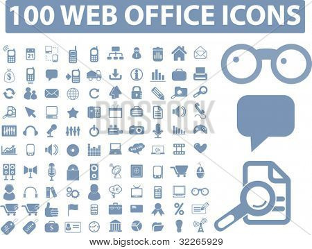 100 iconos de oficina web set, vector illustration