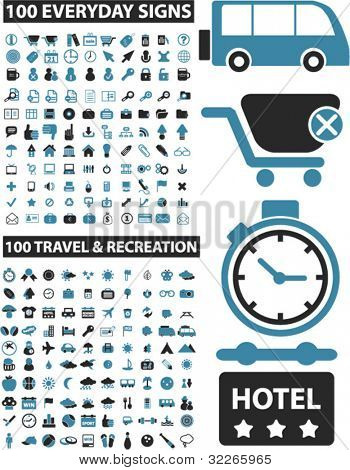 200 business & travel icons set, vector illustrations