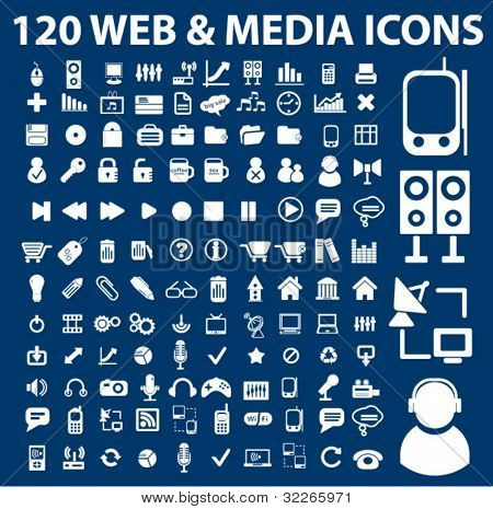 120 Web Media Icons set, Vektor-Illustrationen