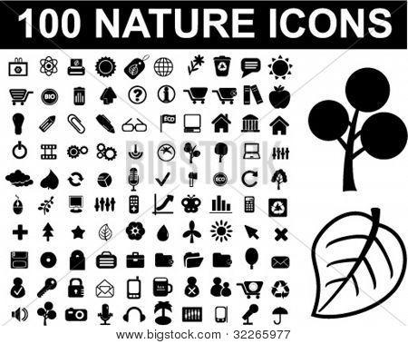 100 Natur Icons Set, Vektor