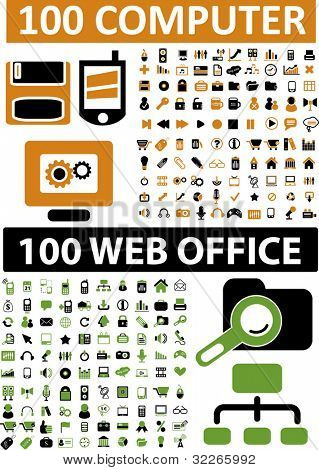 200 iconos de oficina computadora & web set, vector illustration