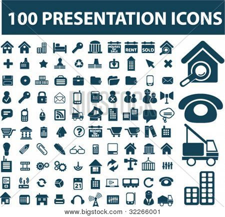 100 presentation icons set, vector