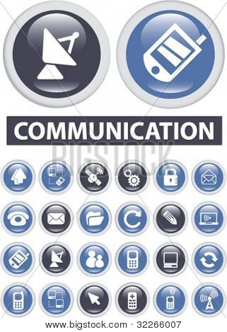communication buttons, icons set, vector