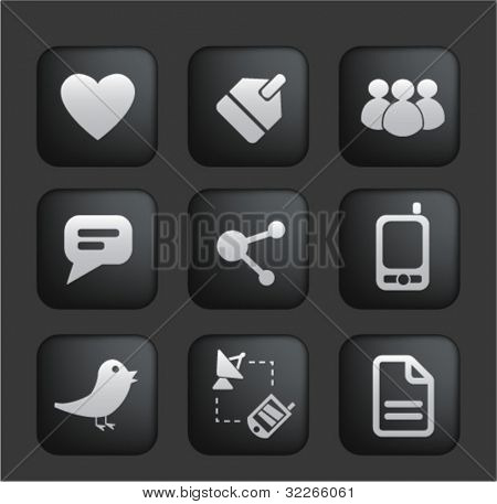 social media black buttons & icons set, vector