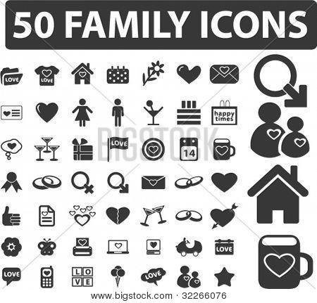 50 Familie Icons Set, vektor verbandswechsel
