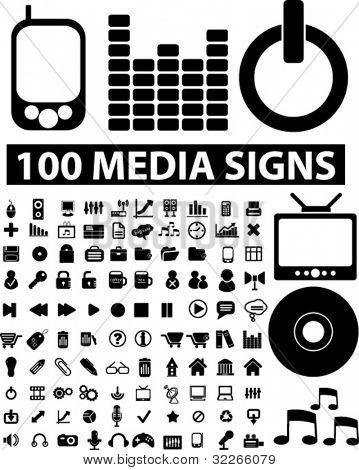 100 media icons set, vector