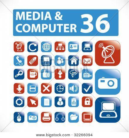 media & computer buttons, vector