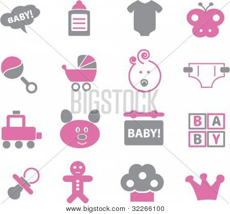 baby icons set, vector