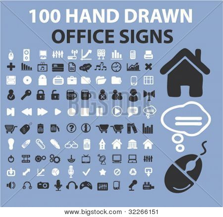 100 hand drawn office icons, signs, vector
