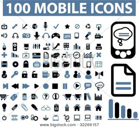 100 mobile Icons, Vektor