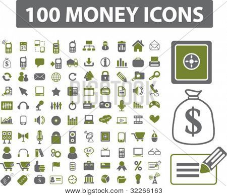 100 money icons set, vector