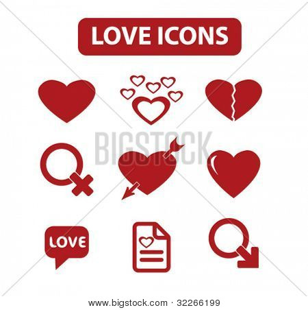 love icons set, vector