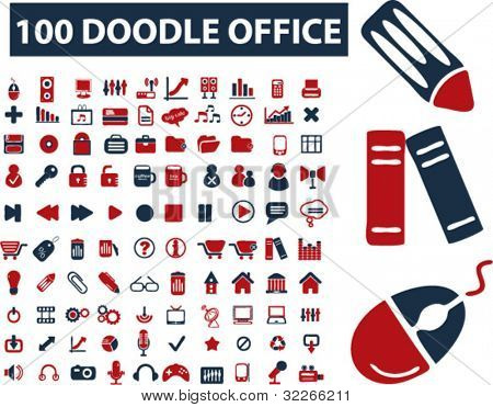 100 doodle office icons, vector