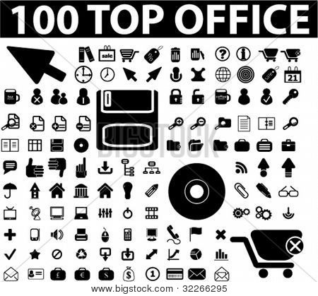web 100 oficina iconos set, vector