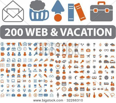 200 web & férias viajam ícones, sinais, vetor