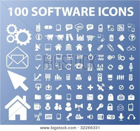 100 software & apps icons, vector