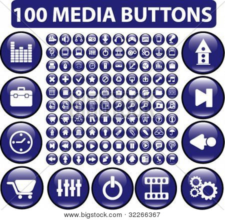 100 media buttons, vector