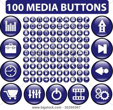 100 media buttons, vector