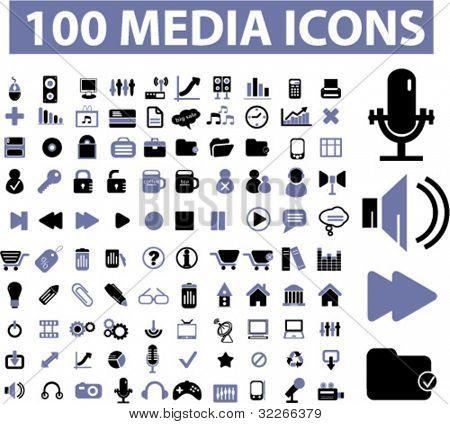 100 media icons, vector
