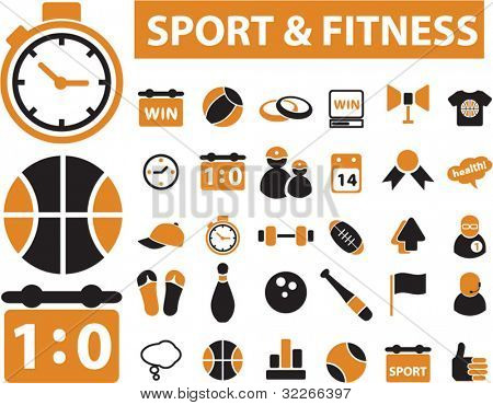 sport & fitness icons, vector