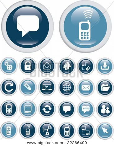 internet communication buttons, icons set, vector