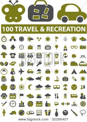 100 travel & recreation icons, signs, vector