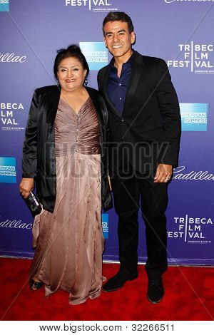 NEW  YORK - APRIL 21: Jose Yenque and his mother attend the