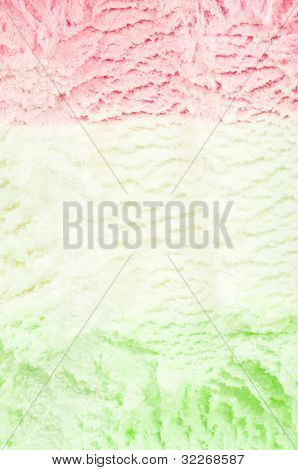 Strawberry, vanilla and pears ice cream background