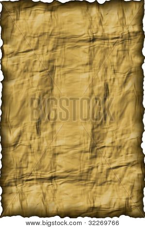 Crinkled old paper background with rough edges