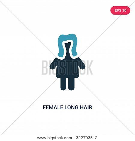 poster of female long hair icon in two color design style.