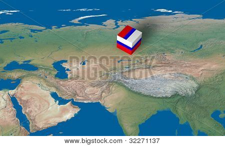 Location of Russia over the country