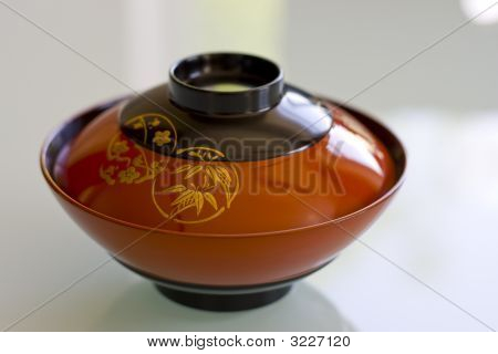 Traditional Japanese Lacqured Bowl On Light Ground