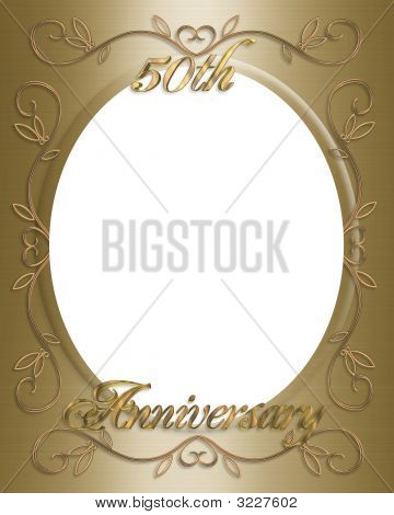 50Th Wedding Invitation Card, Frame  Or Template