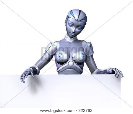 Robot With Top Edge Of Blank Sign