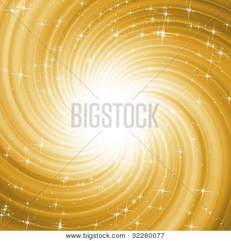 Golden star spiral background