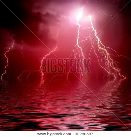 Lightning background with water reflection
