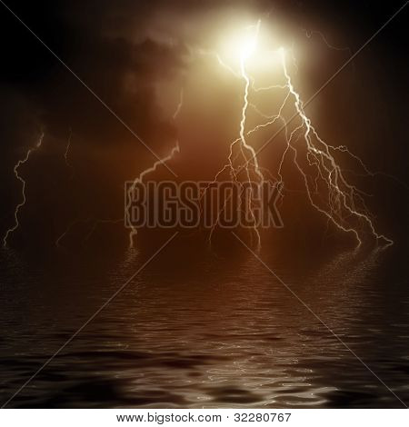 Beautiful lightning with water reflection