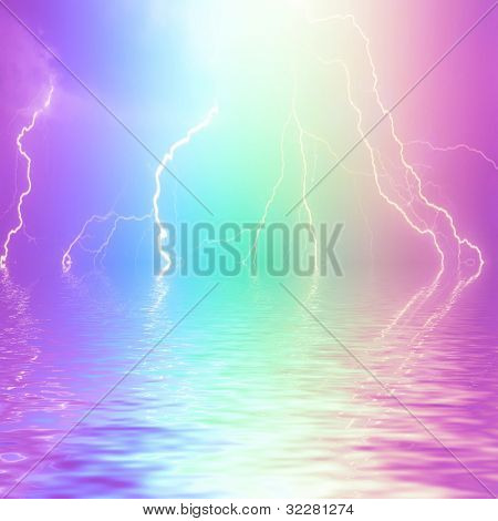Abstract lightning background reflecting in water